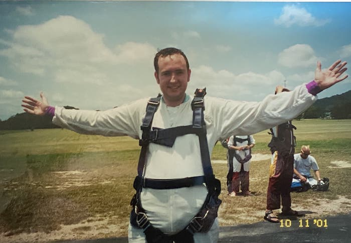 Mike Gow - exhilarated after his parachute jump