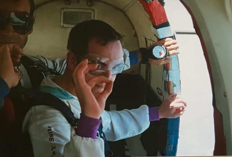 Mike Gow on the plane, getting ready for the parachute jump