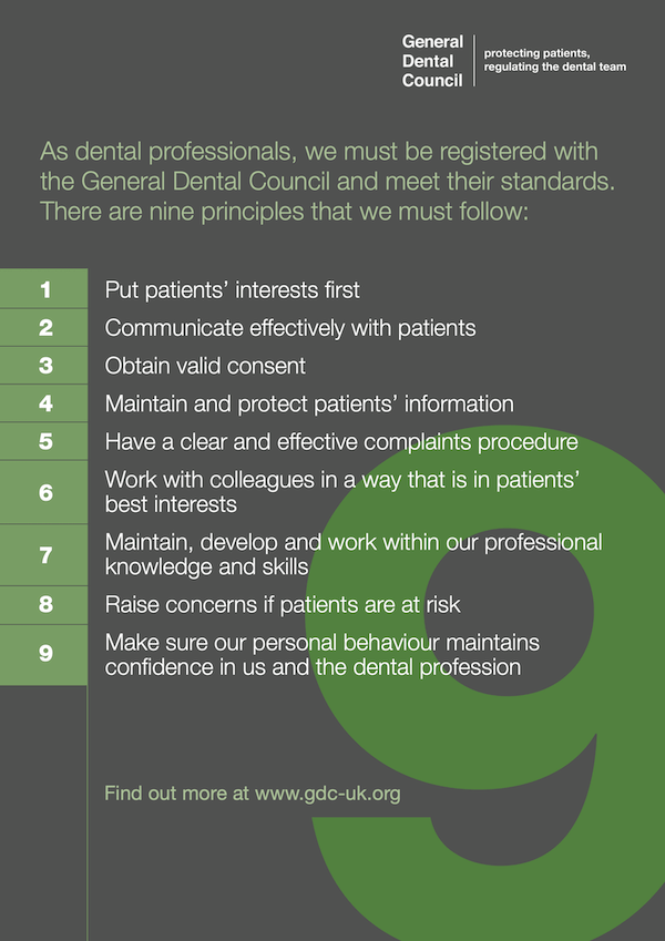 General Dental Council Standards Poster