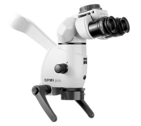 An operating microscope used by endodontists for root canal treatment