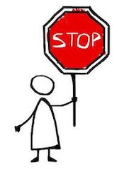 Stick figure holding up a stop sign with their left hand